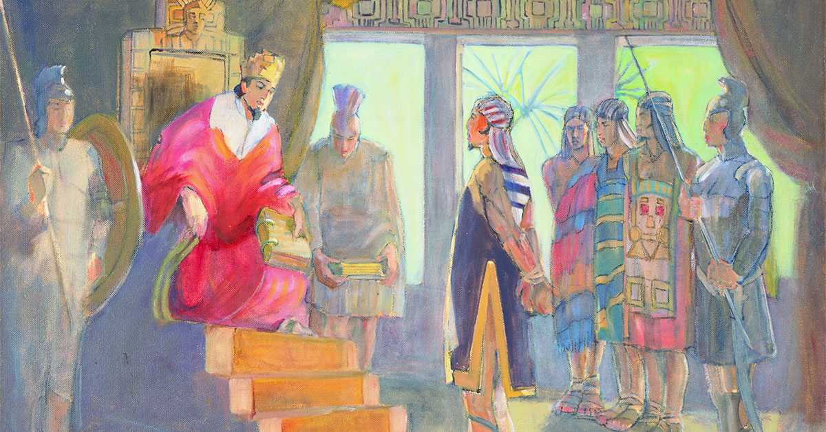 Minerva K. Teichert (1888-1976), Ammon before King Limhi, 1949-1951, oil on masonite, 35 15/16 x 48 inches. Brigham Young University Museum of Art, 1969. Image via ChurchofJesusChrist.org.