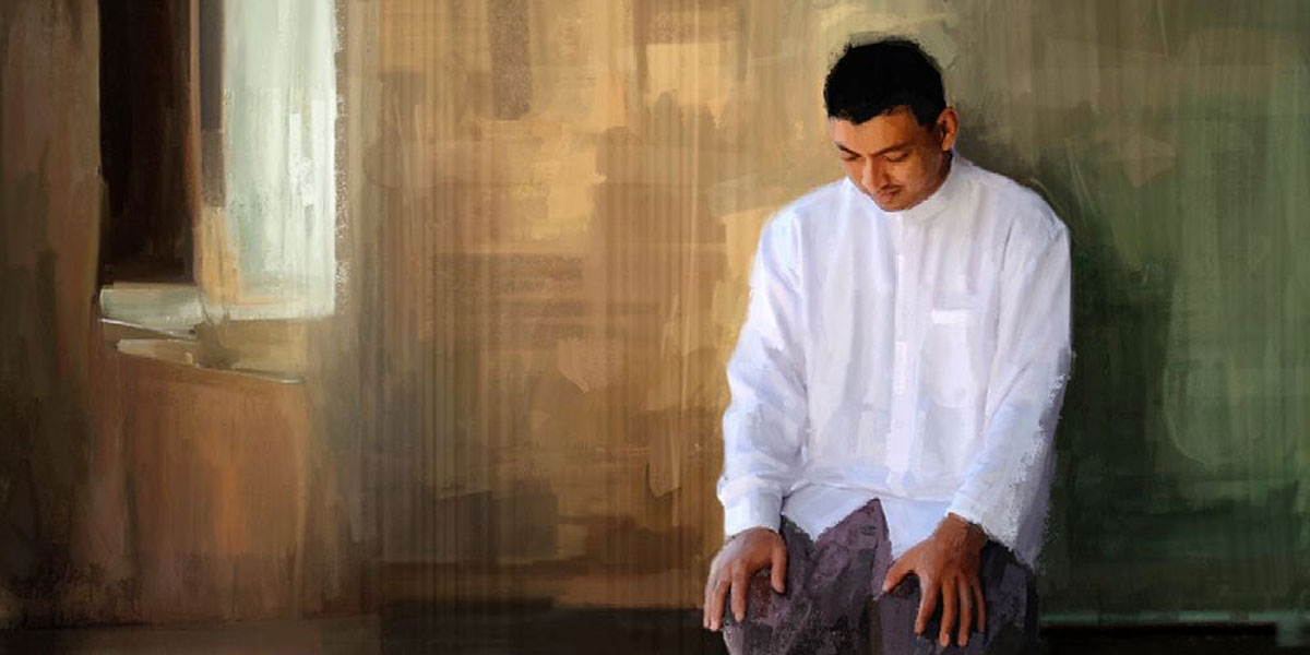 Illustration of a man praying by Joshua Dennis. Image via ChurchofJesusChrist.org