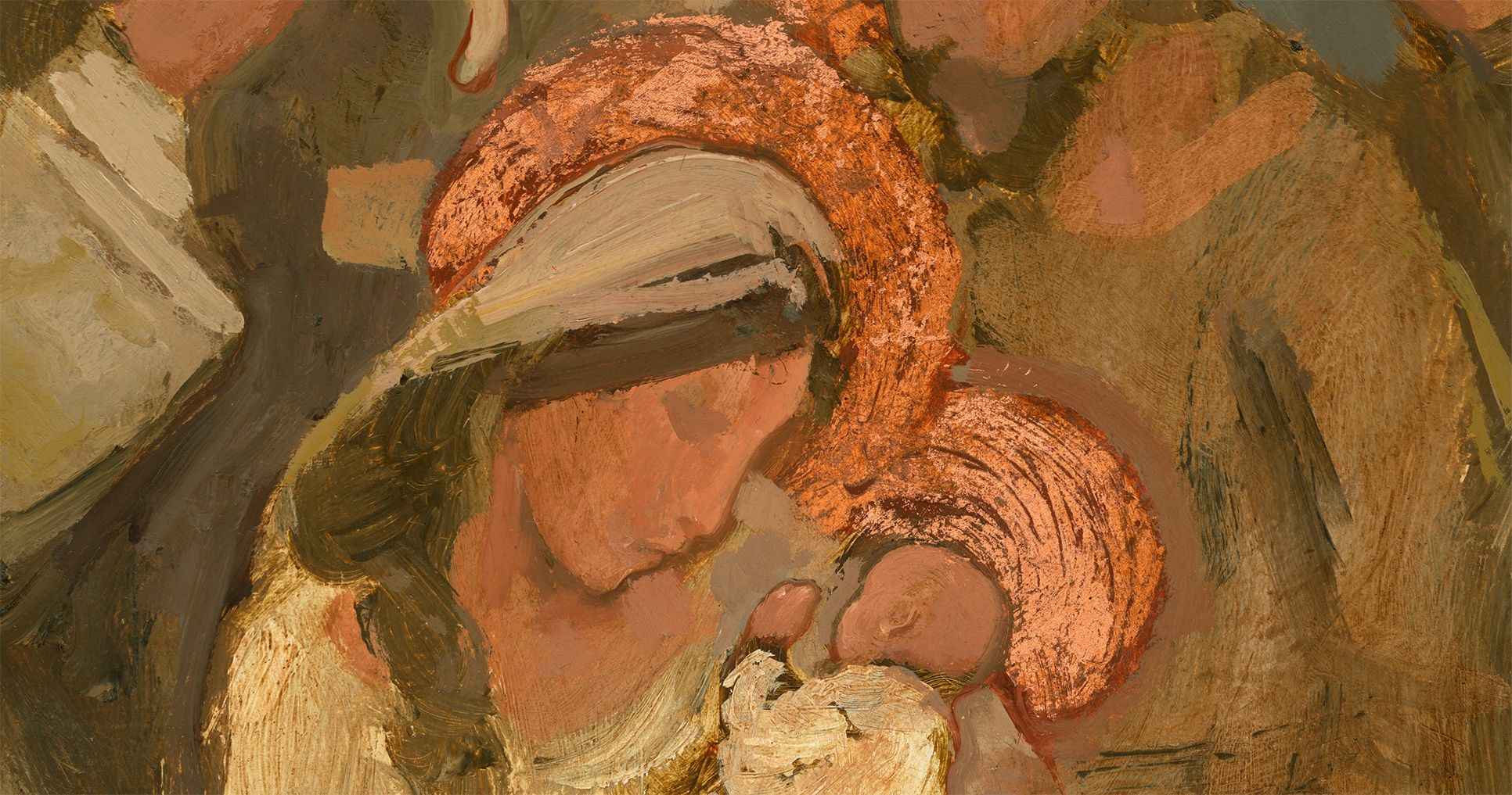 Nativity in Copper and Umber, by J. Kirk Richards. Image via Church of Jesus Christ.