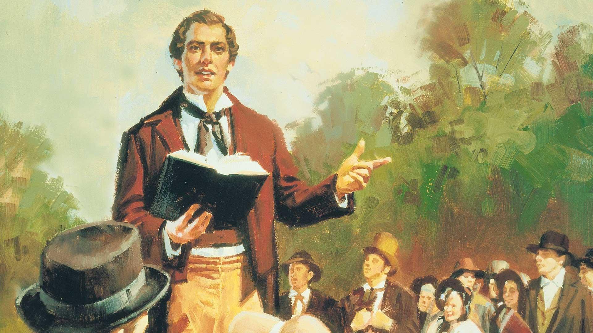 Joseph Smith Preaching by Sam Lawlor. Image by Church of Jesus Christ.