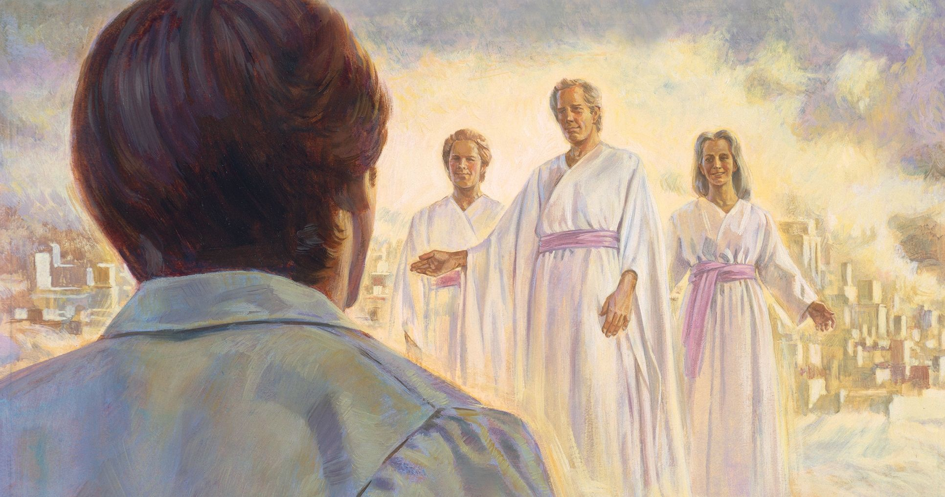 Joseph sees his father, mother, and brother in the celestial kingdom. Joseph Smith's Vision of the Celestial Kingdom, by Robert T. Barrett. Image via Church of Jesus Christ.