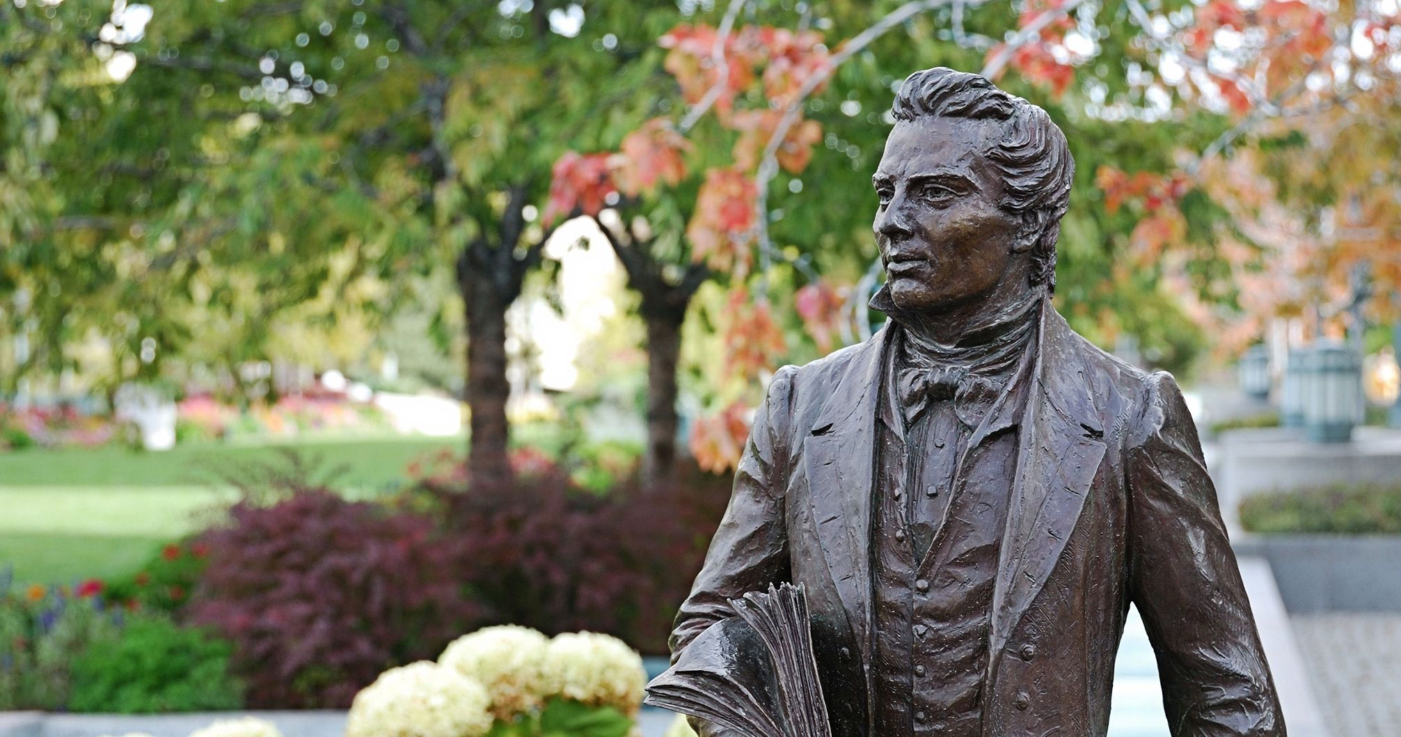 Image of Joseph Smith statue in Salt Lake City. Image via Church of Jesus Christ.
