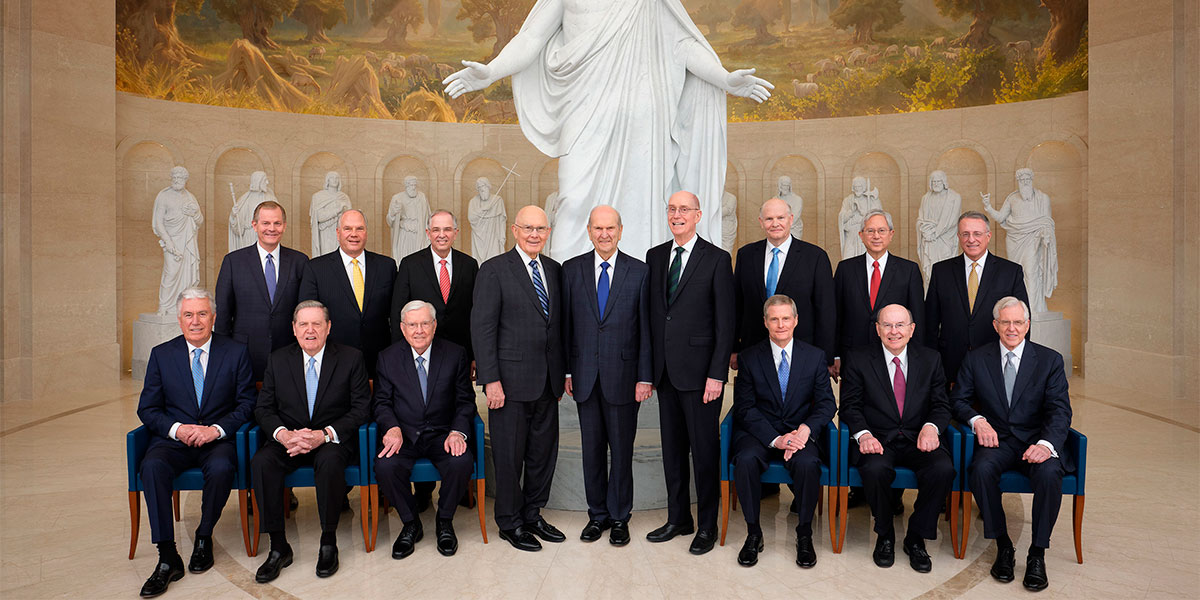 Latter-day Saint apostles at the Rome Temple Visitor Center. Image via lds.org