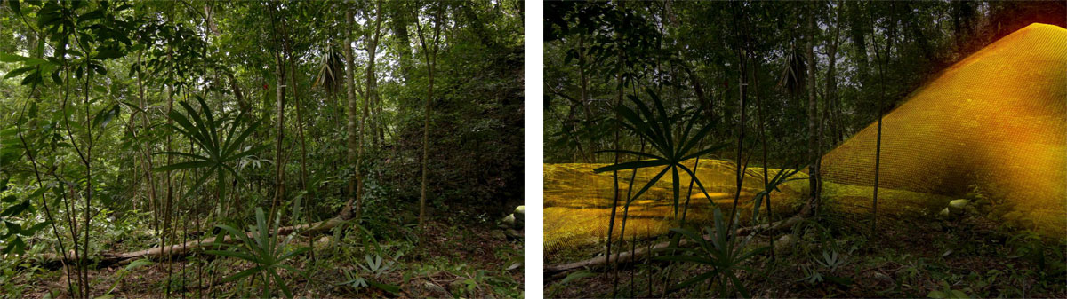 Left: Guatemalan jungle; Right: 3D image of Mayan ruin lying beneath the jungle. Image via National Geographic.