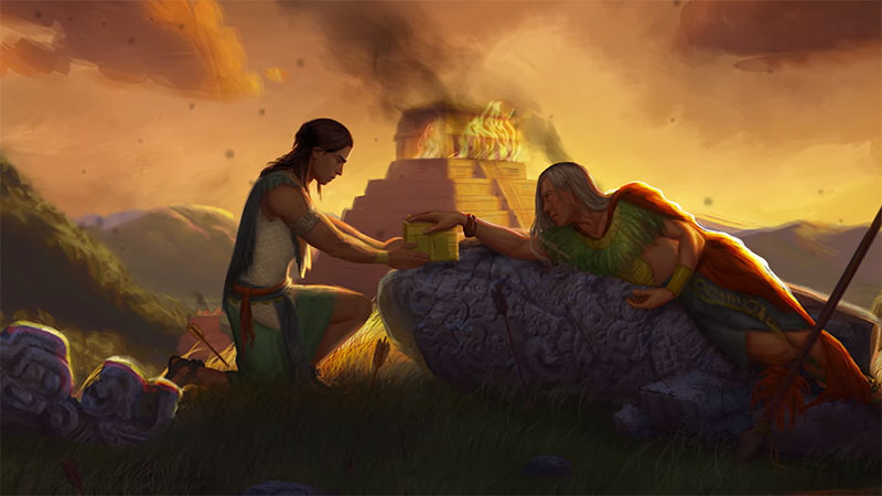 Moroni greets a dying Mormon after the final Nephite battles. Artwork by Katie Payne.