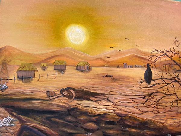 "The famine in the book of Helaman. ""El Señor hiere la tierra a causa de la iniquidad"" by Maria Vargas, submitted to the 2020 Book of Mormon Central Art Contest."