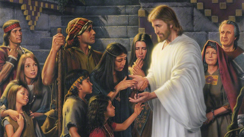 Christ in the Land Bountiful by Simon Dewey. Image via LDS Media Library.