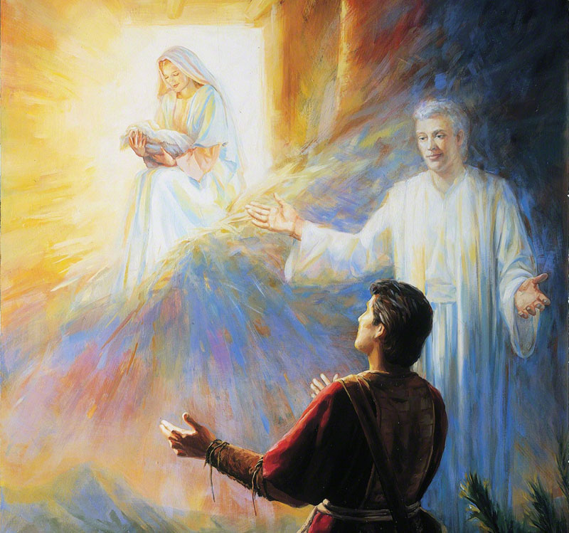 Nephi's Vision of the Virgin Mary by Judith A. Mehr. Image via LDS Media Library