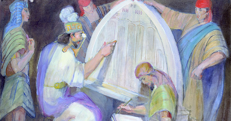 Mosiah Interprets the Jaredite Stone by Minerva Teichert.