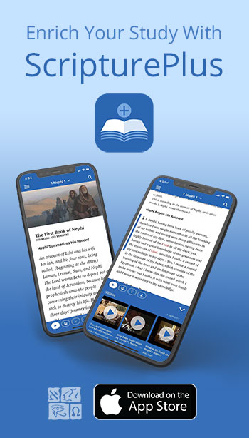 Display ad for ScripturePlus app by Book of Mormon Central