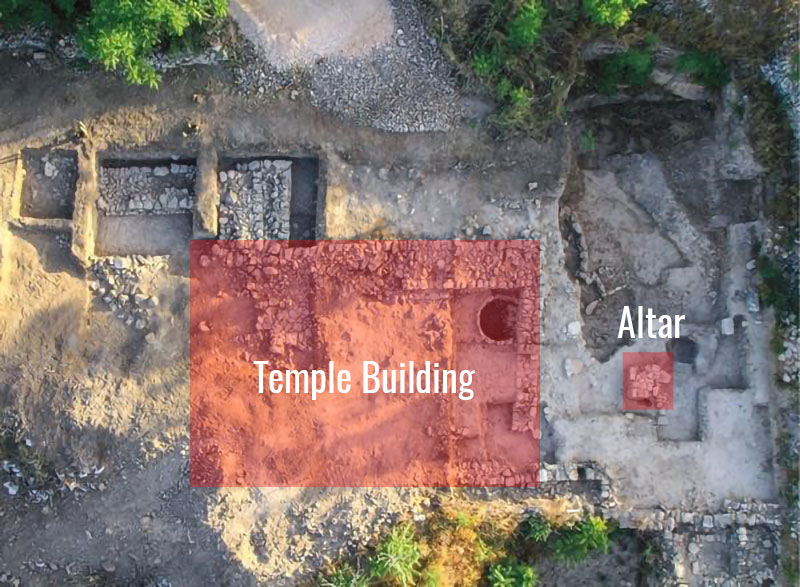 Aerial view of Tel Motza with proposed location of temple highlighted. Image via Biblical Archaeology Review.