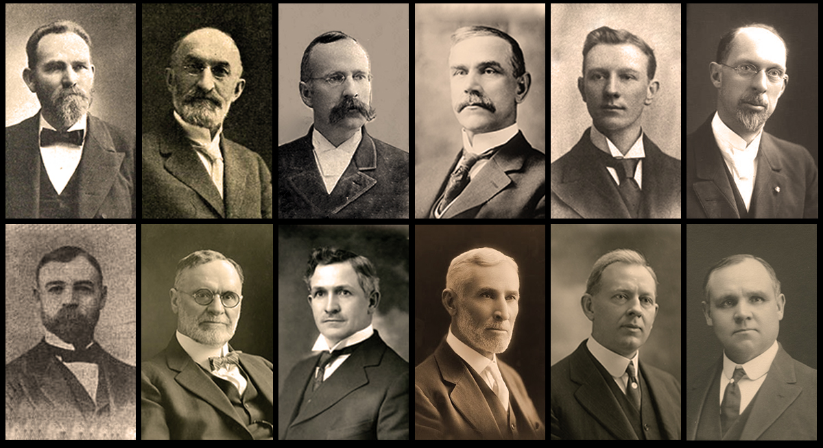 Quorum of the Twelve in 1916: Francis M. Lyman, Heber J. Grant, Rudger Clawson, Reed Smoot, Hyrum M. Smith, George Albert Smith, George F. Richards, Orson F. Whitney, David O. McKay, Anthony W. Ivins, Joseph Fielding Smith, and James E. Talmage
