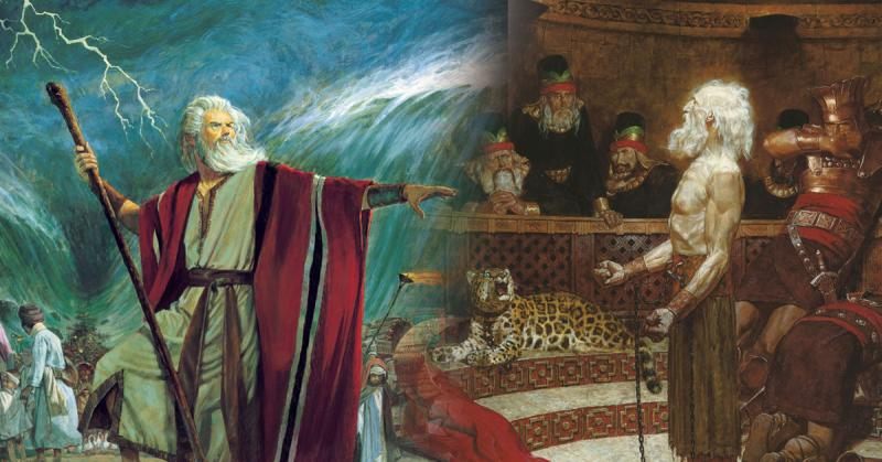 Moses Parting the Red Sea by Robert T. Barrett and Abinadi Before King Noah by Arnold Friberg.