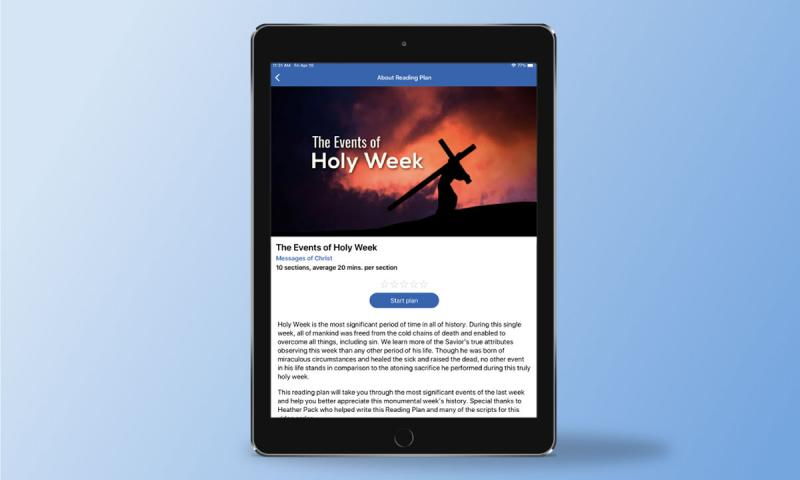 Screenshot of The Events of Holy Week Reading Plan by ScripturePlus.
