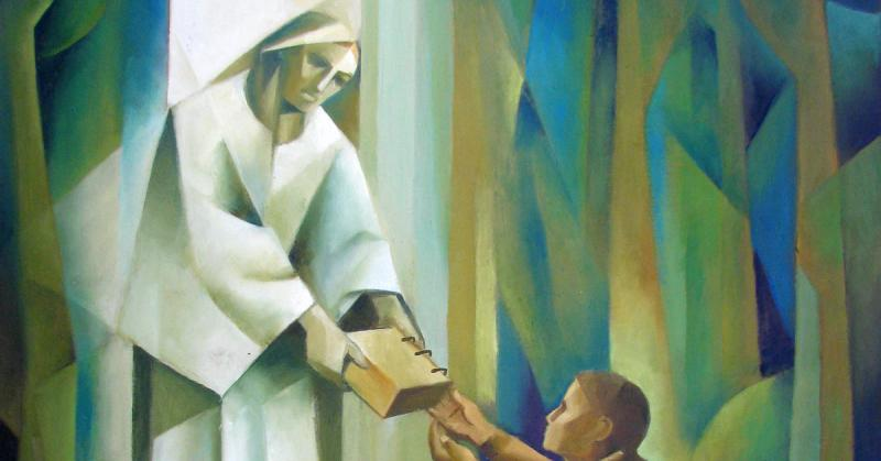 Angel Moroni Giving the Plates to Joseph Smith by Jorge Cocco.