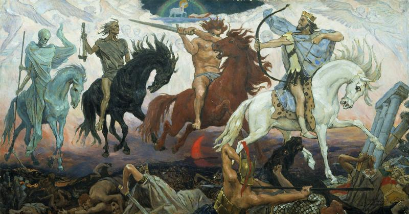 Four Horsement of the Apocalypse by Viktor Mikhailovich Vasnetsov. Image via Wikimedia Commons.