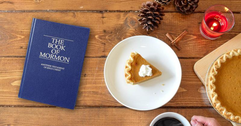 Photo of Book of Mormon and Thanksgiving. Image via Book of Mormon Central and Pixabay.