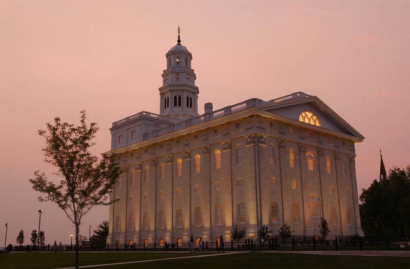 Photo of Nauvoo Temple via Church News.