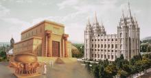 Temple of Solomon via ChurchofJesusChrist.org. Photograph of Salt Lake City Temple via Wikimedia Commons.