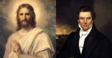 Figure of Christ by Heinrich Hoffman and Portrait of Joseph Smith likely by William Warner Major. Images via Wikmedia Commons.