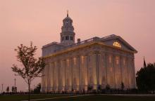 Photo of Nauvoo Temple via Church News.