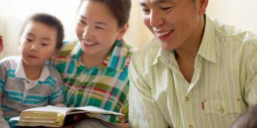 Photo of family scripture study via The Church of Jesus Christ Gospel Media Library.