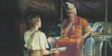 Ammon and King Lamoni, by Scott M. Snow. Image via ChurchofJesusChrist.org