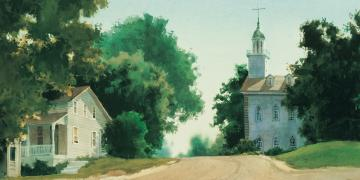 Kirtland Temple, by Al Rounds. Image via Church of Jesus Christ.