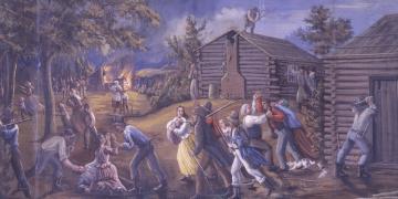 C. C. A. Christensen (1831–1912), Saints Driven from Jackson County Missouri, c. 1878, tempera on muslin, 77 ¼ × 113 inches. Brigham Young University Museum of Art, gift of the grandchildren of C. C. A. Christensen, 1970. Image via Church of Jesus Christ.
