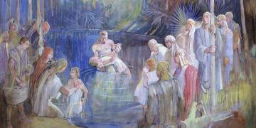 Minerva K. Teichert (1888–1976), Alma Baptizes in the Waters of Mormon, 1949–1951, oil on masonite, 35⅞ x 48 inches. Brigham Young University Museum of Art, 1969. Image via Church of Jesus Christ.