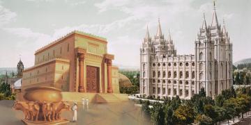 Temple of Solomon via ChurchofJesusChrist.org. Photograph of Salt Lake City Temple via Wikimedia Commons.