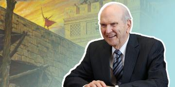 President Russel M. Nelson and a painting of Samuel the Lamanite by Arnold Friberg.