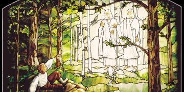 Depiction of Joseph Smith's First Vision in stained glass by Tom Holdman in the Palmyra New York Temple of The Church of Jesus Christ of Latter-day Saints.