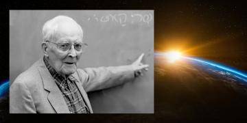 Photo of Hugh Nibley teaching Hebrew.